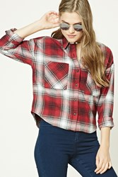 Forever 21 Boxy Flannel Plaid Shirt Red Black
