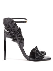 Saint Laurent Edie Ruffle Trimmed Crocodile Effect Sandals Black