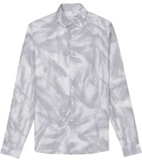 Reiss Hunter Abstract Printed Shirt In Light Grey Blue