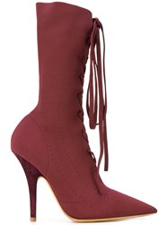 Yeezy Pointed Lace Up Boots Leather Polyester 37.5 Red