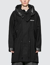 Ambush Hooded Cotton Fishtail Parka Coat Black