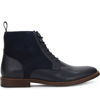 Aldo Bordogna Suede And Leather Ankle Boots Navy
