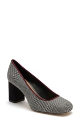 Etienne Aigner Dylan Square Toe Pump Black White Plaid