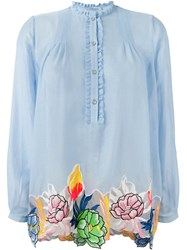 Blumarine Floral Motif Embroidered Patches Top Blue
