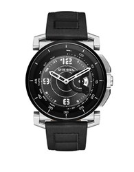 Diesel Stainless Steel And Leather Hybrid Smartwatch Black