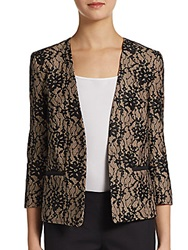 French Connection Open Front Lace Blazer Nude Black