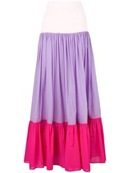 Michel Klein Long Colour Block Skirt Pink And Purple