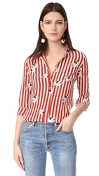 Stella Jean Button Down Silk Shirt Red Multi