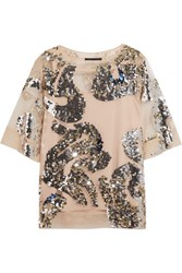 By Malene Birger Sequined Tulle Top Beige