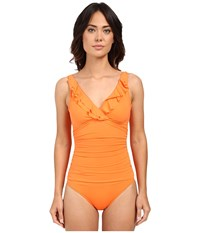 Lauren Ralph Lauren Beach Club Solids Ruffle Surplice Underwire Tank Top Slimming Fit Removable Cup Tangerine Women's Swimsuits One Piece Orange