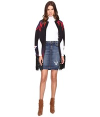 Just Cavalli Star And Flame Knit Cape Black Women's Clothing