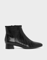 Charles And Keith Whipstitch Trim Ankle Boots Black