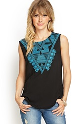 Forever 21 Embroidered Sleeveless Woven Top Black Aqua