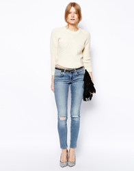 Asos Whitby Low Rise Skinny Jeans In Columbia Light Wash Blue With Ripped Knees Lightwash
