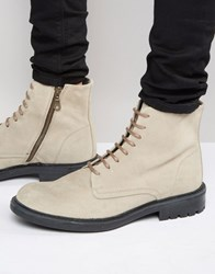 Walk London Stratford Suede Lace Up Boots Beige