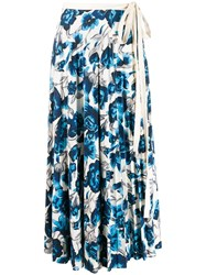Pringle Of Scotland Floral Pleated Skirt Blue