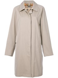 Burberry Long Sleeved Button Trench Cotton Viscose Nude Neutrals