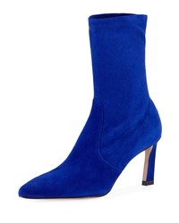Stuart Weitzman Rapture 75Mm Suede Sock Bootie Blue Violet
