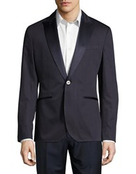 Hardy Amies Mixed Texture One Button Suit Jacket Navy