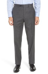 John W. Nordstrom Torino Traditional Fit Flat Front Solid Wool And Cashmere Trousers Mid Grey