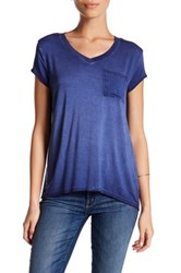 Cable And Gauge Washed V Neck Tee Petite Blue
