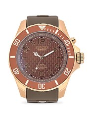 Kyboe Rose Goldtone Stainless Steel Textured Dial Silicone Strap Watch Taupe Rosegold
