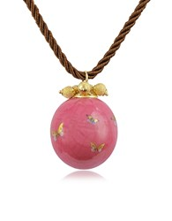 Naoto Alchimia Round Gold Foil Pendant With Lace Pink