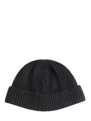 Lanvin Ribbed Wool Knit Beanie Hat