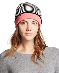 Kate Spade New York Color Block Striped Reversible Beanie Persimmon