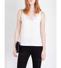 Sandro Romance Lace Sleeveless Top Ecru