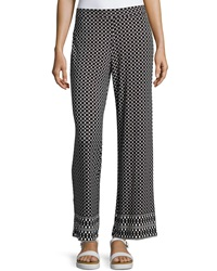 Max Studio Printed Stretch Knit Pants Black Ivory
