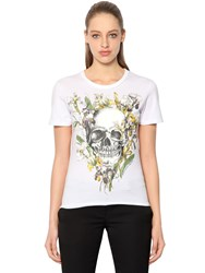 Alexander Mcqueen Wild Iris And Skull Cotton Jersey T Shirt