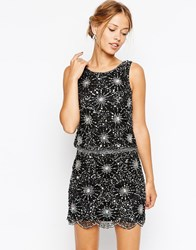 Frock And Frill Heavy Embellished Sparkle Shift Dress Black Silver Multi