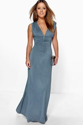 Boohoo Donna Plunge Ruched Maxi Dress Grey