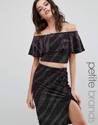 New Look Petite Sparkle Ruffle Crop Top Aubergine Purple