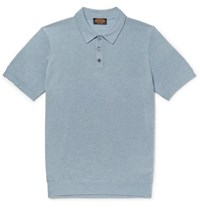 Tod's Slim Fit Textured Merino Wool And Silk Blend Polo Shirt Light Blue