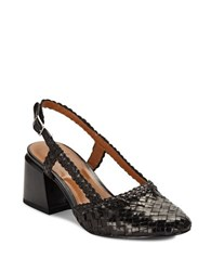 H Halston Woven Leather High Heel Slingbacks Black