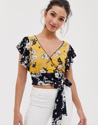 Oasis Wrap Front Blouse With Tie Side In Floral Print Multi