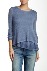 Luma Double Layered Chiffon Trim Sweater Blue