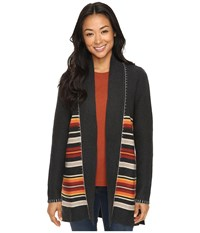 Pendleton Petite Park Stripe Cardigan Charcoal Heather Multi Women's Sweater Gray