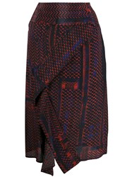 Lala Berlin Patterned High Waisted Skirt Red