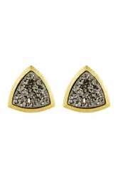Sonya Renee Trillion Druzy Stud Earrings Metallic