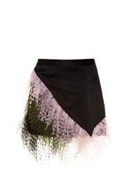 Christopher Kane Feather Embellished Satin Mini Skirt Black