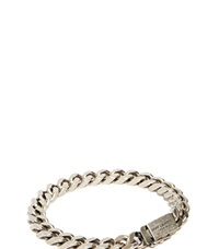 Saint Laurent Gourmette Silver Chain Bracelet Grey