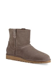 Ugg Classic Unlined Mini Perforated Suede Booties Mole Grey