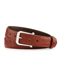 W.Kleinberg Matte Alligator Belt With 'The Paisley' Buckle Cognac Made To Order Red