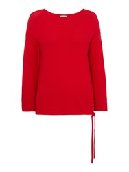 Marella Sorriso Longsleeve Ribbed Side Plait Jumper Red