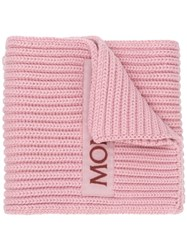 Moncler Logo Knitted Scarf Pink And Purple