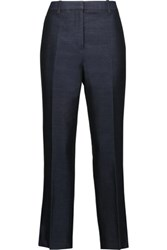 3.1 Phillip Lim Cropped Cotton And Silk Blend Tapered Pants Indigo