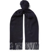 Kingsman Johnstons Of Elgin Fringed Cashmere Scarf Navy